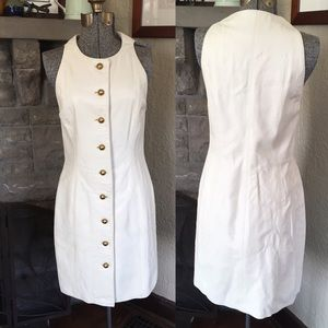 😍 100% LEATHER Dress Ivory Leather Button Front